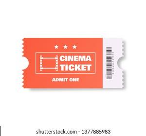Coral color Cinema ticket. Vector illustration.