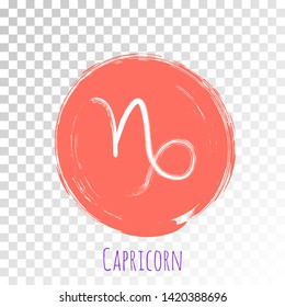 Coral color circle Capricorn zodiac symbol vector, hand painted horoscope sign. Astrological icon isolated. Capricorn astrology zodiac sign clip art on white background.