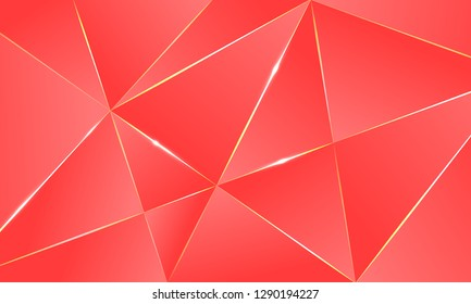 Coral color premium background with luxury polygonal pattern and gold triangle lines. Low poly gradient shapes luxury gold lines vector. Rich background, premium triangle polygons coral red design.