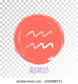 Coral color round Aquarius zodiac sign, circle hand painted horoscope symbol vector. Astrological icon isolated. Aquarius astrology zodiac symbol clip art on transparent background.