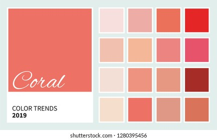 Coral - color trend Spring / Summer 2019. An example of a color palette. Neutral color. Vector graphics. Forecast of the future color trend.
