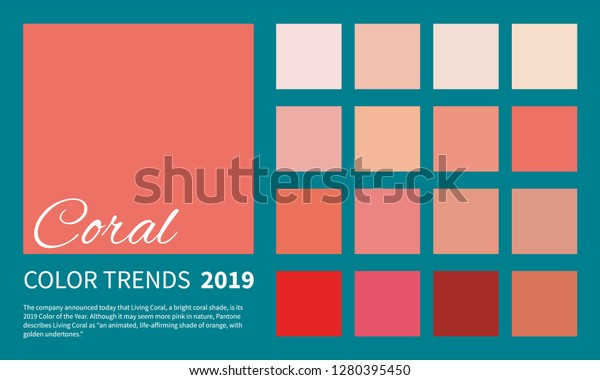 Coral Color Trend Spring Summer 2019 Stock Vector (Royalty