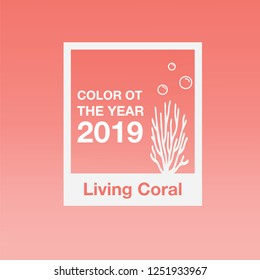 Coral, color of the year 2019, vector illustration