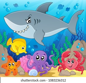 Coral fauna topic image 3 - eps10 vector illustration.