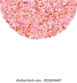 Coral foil confetti placer vector illustration. Birthday anniversary greeting card background. Bright sparkling spangle particles holiday glitter. Birthday celebration confetti.