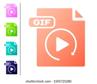 Coral GIF file document. Download gif button icon isolated on white background. GIF file symbol. Set color icons. Vector Illustration