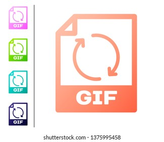 Coral GIF file document icon. Download gif button icon isolated on white background. GIF file symbol. Set color icons. Vector Illustration