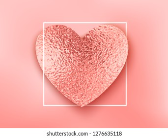 Coral heart with white frame. Valentine pink foil texture decor and border on pink background. Vector shiny gold rose or coral metal gradient pattern.