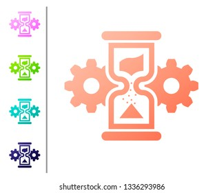 Coral Hourglass and gear icon isolated on white background. Time Management symbol. Clock and gear icon. Business concept. Set icon in color buttons. Vector Illustration