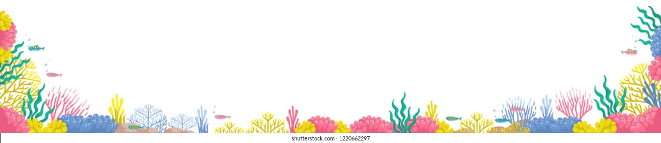 Coral isolated set many colors and many styles. Underwater coral reef landscape wide banner.in the deep white with colorful fish and marine life. Design for the concept of marine eco-tourism.