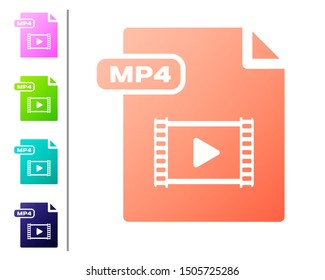 Coral MP4 file document. Download mp4 button icon isolated on white background. MP4 file symbol. Set color icons. Vector Illustration