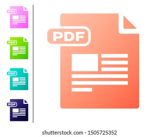 Coral PDF file document. Download pdf button icon isolated on white background. PDF file symbol. Set color icons. Vector Illustration