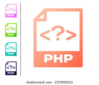 Coral PHP file document icon. Download php button icon isolated on white background. PHP file symbol. Set color icons. Vector Illustration
