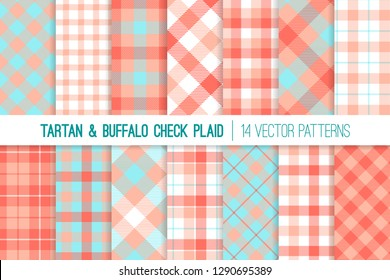 Coral, Pink and Aqua Blue Tartan and Gingham Check Plaid Vector Patterns. Living Coral - 2019 Color of the Year. Hipster Lumberjack Flannel Shirt Fabric Textures. Pattern Tile Swatches Included.