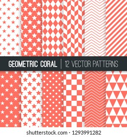 Coral Pink Geometric Vector Patterns. Backgrounds in Purple Herringbone, Harlequin, Triangles, Chevron, Dots, Checks, Stars & Stripes. 2019 Color of the Year. Pattern Tile Swatches included.