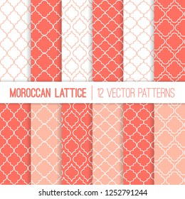 Coral Pink Moroccan Lattice Vector Patterns. Living Coral - 2019 Color of the Year. Modern Elegant Backgrounds. Classic Quatrefoil Trellis Ornament. Repeating Pattern Tile Swatches Included.
