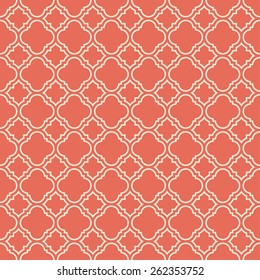 coral pink quatrefoil vector pattern. can by tiled seamlessly.
