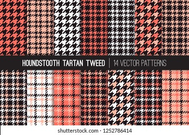 Coral, Pink, White and Black Houndstooth Tartan Tweed Vector Pattern Tile. Living Coral - 2019 Color of the Year. Fashion Textile Print. Dogs-tooth Check Fabric Textures. Pattern Tile Swatch Included.