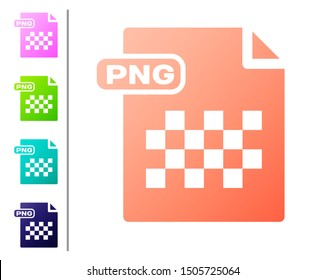 Coral PNG file document. Download png button icon isolated on white background. PNG file symbol. Set color icons. Vector Illustration