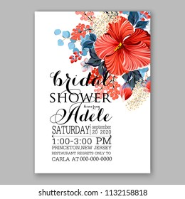 Coral red hibiscus Floral wedding invitation or greeting card/ Wreath of flower for marriage baby shower bridal shower invitation, party celebration vector printable template watercolor background