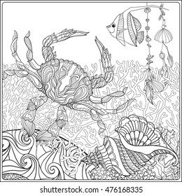 Coral reef collection. Corals, fish and sea shells on bottom composition. Vector illustration. Coloring book for adult and older children. Outline drawing coloring page.