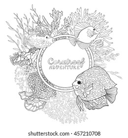 Coral reef with corals and fish. Coloring book for adult and older children. Outline drawing coloring page. Vector illustration. With space for text