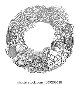 Coral reef drawn in a line art style. Marine wreath. Sea and ocean plants and rocks isolated on white background. Coloring book page design for adults and kids