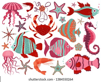 Coral reef fauna with tropical fishes, starfishes, jellyfishes, shrimps, crab and seahorse. Sea stars and ocean underwater animals, marine biodiversity design elements collection. Aquatic life set.
