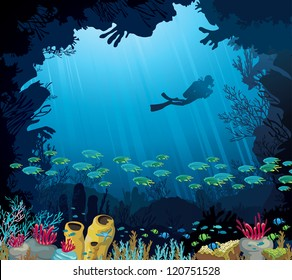 Coral reef with fish and silhouette of diver on blue sea background. Underwater tropic life.