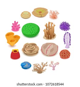 Coral reef icons set. Isometric illustration of 16 coral reef vector icons for web