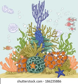 Coral reef illustration with sea anemones and algae