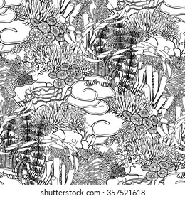 Coral reef  in line art style on white background. Ocean plants and rocks in the seamless pattern. Coloring page design for adults and kids