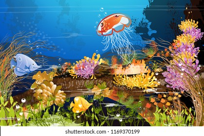 The coral reef is located on a large tree under the sea with beautiful fish and deep underwater mountains, underwater caves on dark blue sea floor. Sea Creature Vector Illustration Summer Heat