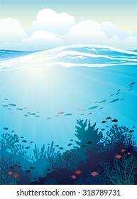 Coral reef with school of fish and white waves on a blue sea background. Vector underwater illustration.