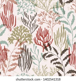 Coral reef seamless pattern. Kelp laminaria seaweed algae background. Underwater plants textile print vector design. Red Sea coral reef branches and bushes cartoon. Organic botanical pattern.