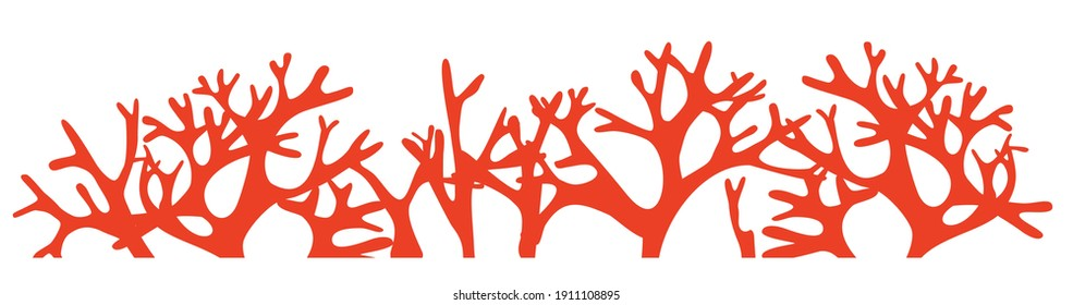 coral reef silhouette on white background
