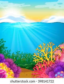 Coral reef under the sea illustration