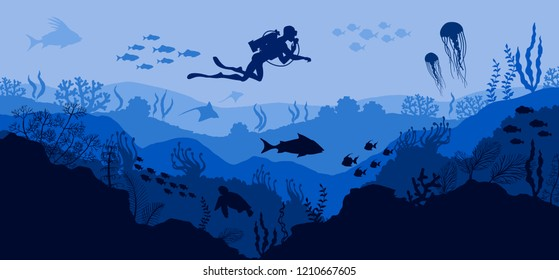 Coral reef and Underwater wildlife Diver on blue sea background