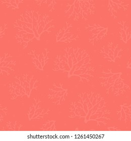 Coral seamless pattern. Coral texture. Corals on coral background with air bubbles. Vector design for fabric, wallpaper, home textile, packaging and paper for art and craft. Marine collection