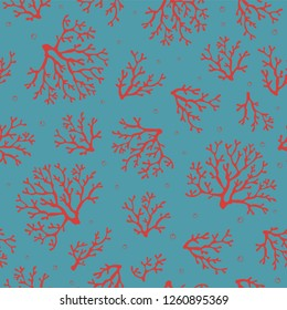 Coral seamless pattern.Tropical reef. Corals on blue backdrops with air bubbles. Vector seamless design for fabric, wallpaper, home textile, packaging and paper for art and craft. Marine collection.