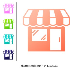 Coral Shopping building or market store icon isolated on white background. Shop construction. Set color icons. Vector Illustration