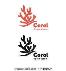 Coral silhouette vector illustration. Marine logo graphic design elements.
