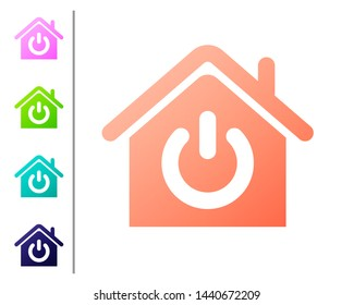 Coral Smart home icon isolated on white background. Remote control. Set color icons. Vector Illustration