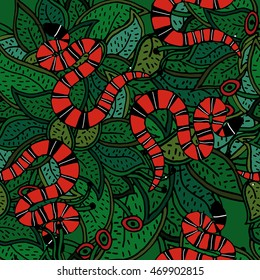 Coral snake, red striped snake on green botanical background.Red black white snake. Vector illustration, seamless pattern.