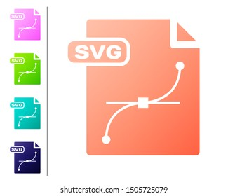 Coral SVG file document. Download svg button icon isolated on white background. SVG file symbol. Set color icons. Vector Illustration