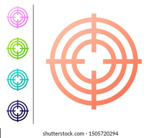 Coral Target sport for shooting competition icon isolated on white background. Clean target with numbers for shooting range or shooting. Set color icons. Vector Illustration