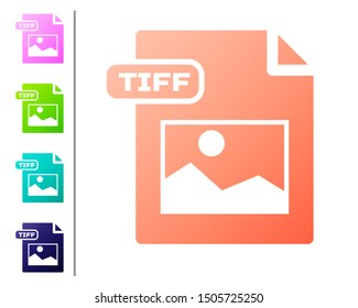 Coral TIFF file document. Download tiff button icon isolated on white background. TIFF file symbol. Set color icons. Vector Illustration