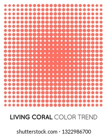 Coral Trendy Color Circle in Halftone, Halftone Dot Pattern, Vector Illustration.