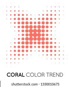 Coral Trendy Color Cross X Shape in Halftone, Halftone Dot Pattern, Vector Illustration.