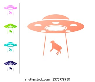 Coral UFO abducts cow icon isolated on white background. Flying saucer. Alien space ship. Futuristic unknown flying object. Set color icons. Vector Illustration